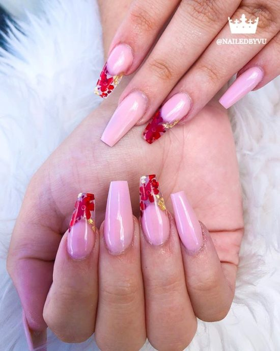 Red Flowers & Gold Foils on Glass