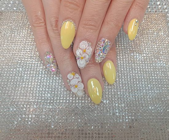 Glossy Yellow With White 3D Flowers and Stones