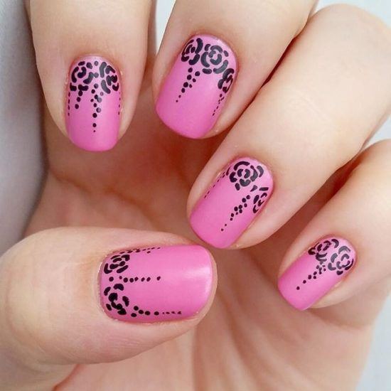 Pink Base Coat With Black Flowers On Top