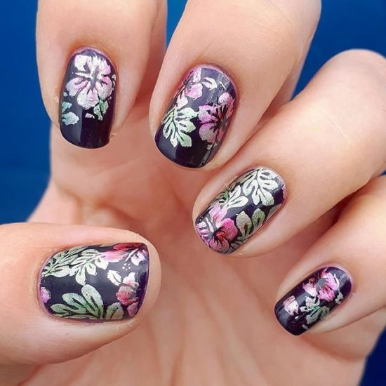 Black Nails with Metallic Multi Color Flowers