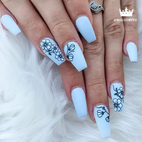 Pastel Blue Nails with Black Line Flower